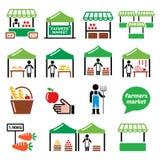 Los granjeros comercializan, mercado de la comida con los iconos locales frescos de la producción fijados ilustración del vector