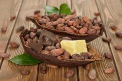 Los granos de cacao, la manteca de cacao y el cacao se forman fotos de archivo libres de regalías