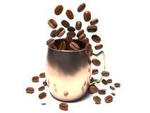 Los granos de café caen en una taza ilustración del vector