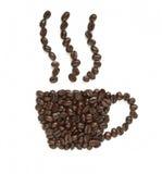 Los granos de café hacen dimensión de una variable de la taza de café Imágenes de archivo libres de regalías
