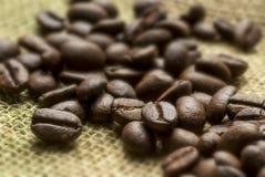 Los granos de café se cierran para arriba imágenes de archivo libres de regalías