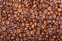 Los granos de café se cierran para arriba en una pila Fotos de archivo libres de regalías