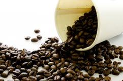 Los granos de café fluyen de la taza del Libro Blanco en el fondo blanco Imagen de archivo libre de regalías