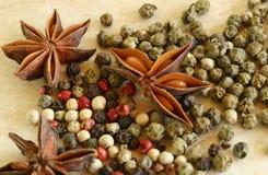 Los granos de pimienta verdes, rojos y blancos se cierran para arriba Fotos de archivo libres de regalías