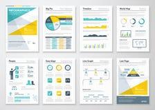 Los gráficos de la información del negocio vector los elementos para los folletos corporativos Imágenes de archivo libres de regalías