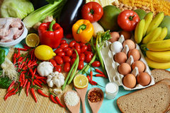 Los 5 grupos de alimentos Imagenes de archivo