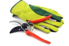 Los guantes y el esquileo del jardín en blanco aislaron el fondo Foto de archivo libre de regalías