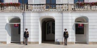 Los guardias de la élite del honor delante del palacio presidencial fotos de archivo libres de regalías