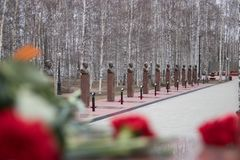Los héroes de Alleyof de la gran guerra patriótica, Khanty-Mansiysk pueden 9, 2017 Imagen de archivo libre de regalías