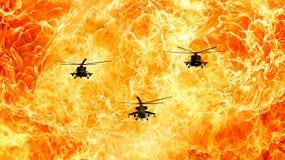 Los helicópteros en un fondo ardiente, fuego flamean ilustración del vector