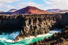 Los Hervideros, coastline in Lanzarote with waves Stock Photography
