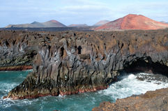 Los Hervideros - Lanzarote, Canarian Islands. The view of volcanic rock coast - Lanzarote, Canarian Islands Stock Images