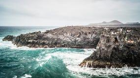 Los Hervideros, Lanzarote, in Canary Islands stock images