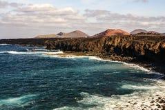 Los Hervideros, Lanzarote place where lava. Stock Photos