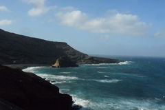 Los Hervideros nell'isola di Lanzarote Fotografia Stock