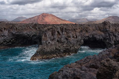 Los Hervideros volcanic panorama, Lanzarote, Spain Stock Image
