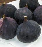 Los higos negros frescos envejecen las pinturas, fruta fresca del higo en plato, Fotos de archivo libres de regalías