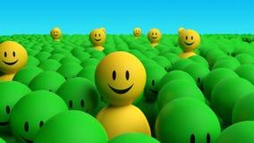 Los hombres amarillos algún 3d salen de una muchedumbre verde Imagen de archivo libre de regalías