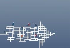Los hombres de negocios agrupan el concepto de Team On Arrow Leadership Competition del funcionamiento libre illustration