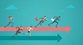 Los hombres de negocios agrupan el concepto de Team Leader On Arrow Competition del funcionamiento Imagen de archivo