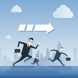 Los hombres de negocios agrupan el concepto de Team Leader Under Arrow Competition del funcionamiento ilustración del vector