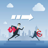 Los hombres de negocios agrupan el funcionamiento que lleva a cabo el concepto de Team Leader Under Arrow Competition de la muest ilustración del vector