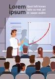 Los hombres de negocios agrupan en los cursos de aprendizaje de la reunión de la conferencia Flip Chart con el gráfico Imagen de archivo libre de regalías