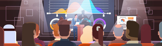 Los hombres de negocios agrupan en los cursos de aprendizaje de la reunión de la conferencia Flip Chart con el gráfico Foto de archivo