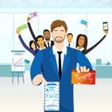 Los hombres de negocios agrupan la opción financiera del pago ilustración del vector