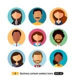 Los hombres de negocios de los avatares de los iconos planos de la colección de trabajadores combinan para el web libre illustration