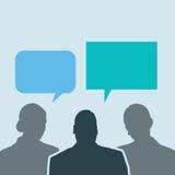 Los hombres de negocios comparten burbujas sociales de la charla de la red ilustración del vector