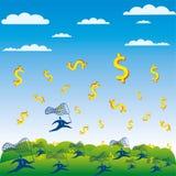 Los hombres de negocios compiten intento para coger el dólar Imagen de archivo libre de regalías