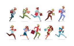 Los hombres de negocios corrientes fijados llevan a cabo el actual concepto de la celebración de los días de fiesta de la Navidad libre illustration