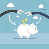 Los hombres de negocios de la hucha de la mano pusieron la inversión de los ahorros del dinero Imágenes de archivo libres de regalías