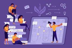 Los hombres de negocios en línea se distancian estudiar stock de ilustración