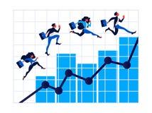 Los hombres de negocios en la escalera de la flecha, hombre de negocios caminan en gráficos al éxito ilustración del vector