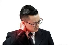 Los hombres de negocios están sufriendo de dolor de cuello Imagen de archivo libre de regalías