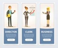 Los hombres de negocios fijaron, el director y el vendedor, banderas del negocio para el folleto de publicidad, cartel promociona stock de ilustración