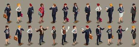 Los hombres de negocios ilustraron el traje oscuro isométrico de la gente Imagen de archivo