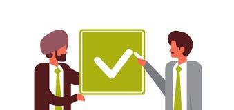Los hombres de negocios indios del acuerdo del verde del consentimiento del concepto de los hombres de negocios del plano de la r libre illustration