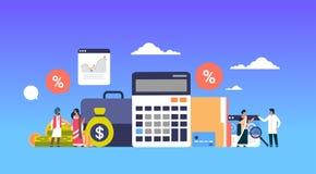Los hombres de negocios indios financian la riqueza financiera del crecimiento del trabajo en equipo de la calculadora del anális stock de ilustración