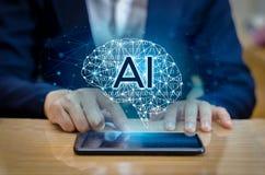 Los hombres de negocios de la mano del AI presionan el teléfono Brain Graphic Binary Blue Technology Imagenes de archivo
