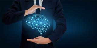 Los hombres de negocios de la mano del AI presionan el teléfono Brain Graphic Binary Blue Technology Fotografía de archivo