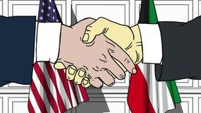 Los hombres de negocios o los pol?ticos sacuden las manos contra banderas de los E.E.U.U. y de Kuwait Reuni?n oficial o historiet libre illustration