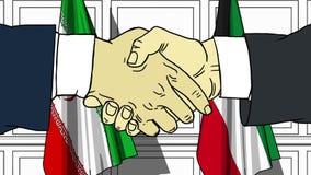 Los hombres de negocios o los pol?ticos sacuden las manos contra banderas de Ir?n y de Kuwait Reuni?n oficial o historieta relaci stock de ilustración