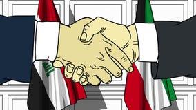 Los hombres de negocios o los pol?ticos sacuden las manos contra banderas de Iraq y de Kuwait Reuni?n oficial o historieta relaci stock de ilustración