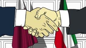 Los hombres de negocios o los pol?ticos sacuden las manos contra banderas de Qatar y de Kuwait Reuni?n o cooperaci?n oficial rela ilustración del vector