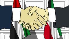 Los hombres de negocios o los pol?ticos sacuden las manos contra banderas de los UAE y de Kuwait Reuni?n oficial o historieta rel ilustración del vector
