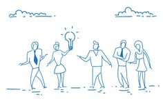 Los hombres de negocios que llevan a cabo concepto de lanzamiento de la innovación creativa ligera de la lámpara combinan la reun ilustración del vector
