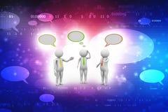 Los hombres de negocios que se colocan y que hablan con discurso burbujean en fondo de la tecnolog?a stock de ilustración